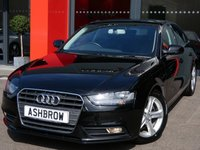 USED 2015 15 AUDI A4 2.0 TDI ULTRA SE TECHNIK 4d 163 S/S HDD SAT NAV WITH JUKEBOX & DVD PLAYBACK, FULL BLACK LEATHER, DAB RADIO, WIRELESS LAN CONNECTION (WLAN), BLUETOOTH MOBILE PHONE PREP WITH MUSIC STREAMING, AUDI MUSIC INTERFACE FOR IPOD / USB DEVICES (AMI),  FRONT & REAR PARKING SENSORS WITH DISPLAY, FRONT FOG LIGHTS, 17 INCH 5 SPOKE ALLOYS, LEATHER MULTI FUNCTION STEERING WHEEL, LIGHT & RAIN SENSORS WITH AUTO DIMMING REAR VIEW,1 OWNER FROM NEW, FULL AUDI SERVICE HISTORY, £20 ROAD TAX (109 G/KM)