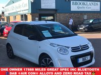 USED 2016 16 CITROEN C1 1.2 PURETECH FLAIR Lipizan White 3 Door 82 BHP One Owner 17888 miles Great Spec inc Bluetooth DAB Air Con Alloys and Zero Road Tax