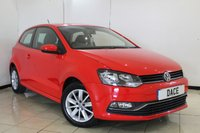 USED 2015 15 VOLKSWAGEN POLO 1.0 SE 3DR 60 BHP FULL SERVICE HISTORY + BLUETOOTH + MULTI FUNCTION WHEEL + AIR CONDITIONING + 15 INCH ALLOY WHEELS