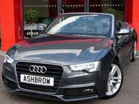 USED 2013 63 AUDI A5 CABRIOLET 2.0 TDI S LINE SPECIAL EDITION 2d AUTO 177 S/S UPGRADE TECHNOLOGY PACK HIGH INCLUDING PARKING SYSTEM PLUS FRONT & REAR AMI & MMI NAVIGATION PLUS WITH DVD PLAYBACK & JUKEBOX, UPGRADE 18 INCH 5 DOUBLE SPOKE ALLOYS, UPGRADE HEATED FRONT & REAR SEATS, UPGRADE PIANO FINISH BLACK INLAYS, UPGRADE ELECTRIC HEATED FOLDING DOOR MIRRORS, UPGRADE AUTO DIMMING REAR VOEW MIRROR, UPGRADE LED INTERIOR LIGHT PACK, BLUETOOTH PHONE & MUSIC STREAMING, DAB RADIO, WIRELESS LAN CONNECTION (WLAN), LED XENON LIGHTS, FULL LEATHER, SPORT SEATS, HEAD LEVEL HEATING, FSH