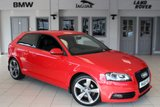 USED 2012 61 AUDI A3 2.0 TDI S LINE BLACK EDITION 3d AUTO 138 BHP FULL AUDI SERVICE HISTORY + FULL BLACK LEATHER SEATS + BOSE SOUND SYSTEM + BLUETOOTH + CRUISE CONTROL + HEATED FRONT SEATS + 18 INCH ALLOYS + AIR CONDITIONING + REAR PARKING SENSORS
