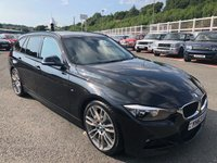 USED 2013 63 BMW 3 SERIES 2.0 320D M SPORT TOURING 5d 181 BHP Metallic Black with Red leather & 19 inch alloys