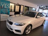 USED 2014 14 BMW 2 SERIES 2.0 218D M SPORT 2d 141 BHP Two owners, Service history, July 2019 advisory free Mot. Finished in Alpine White with Black Dakota Leather.
