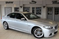USED 2014 63 BMW 5 SERIES 2.0 520D M SPORT 4d 181 BHP FULL BMW SERVICE HISTORY + FULL BLACK LEATHER SEATS + PRO SATELLITE NAVIGATION + BLUETOOTH + 18 INCH ALLOYS + HEATED FRONT SEATS + PARKING SENSORS + DAB RADIO