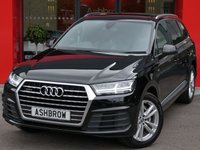 USED 2016 16 AUDI Q7 3.0 TDI QUATTRO S LINE 5d AUTO 215 S/S 1 OWNER FROM NEW, FULL AUDI SERVICE HISTORY, UPGRADE PANORAMIC GLASS SUNROOF, UPGRADE GREY VALCONA LEATHER, UPGRADE 3 SPOKE MULTI FUNCTION TIP TRONIC STEERING WHEEL, UPGRADE LIGHTING PACK, SAT NAV, HEATED FRONT SEATS, CRUISE CONTROL W/ SPEED LIMITER, DAB RADIO, BLUETOOTH PHONE & MUSIC STREAMING, AUX & 2x USB PORTS, AUTO HILL HOLD, WIRELESS LAN CONNECTION (WLAN), FRONT & REAR PARKING SENSORS WITH DISPLAY, ELECTRIC TAILGATE, ELECTRIC HEATED FOLDING DOOR MIRRORS, START STOP TECHNOLOGY, LED DAYTIME