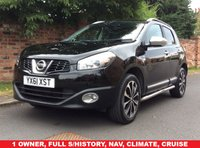 USED 2011 61 NISSAN QASHQAI 1.6 N-TEC 5d 117 BHP 1 OWNER, FULL SERVICE HISTORY, MOT AUG 19,  EXCELLENT CONDITION, NAV, ALLOYS, CLIMATE, CRUISE, PARKING AID, PAN ROOF,  BLUETOOTH,  FOGS, RADIO CD, E/WINDOWS, R/LOCKING, FREE WARRANTY, FINANCE AVAILABLE, HPI CLEAR, PART EXCHANGE WELCOME,