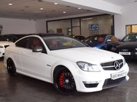 USED 2012 12 MERCEDES-BENZ C CLASS 6.2 C63 AMG EDITION 125 2d AUTO 457 BHP PERFORMANCE PACK PERFROMANCE PK+PANROOF+RED LTR