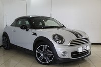 USED 2013 63 MINI COUPE 1.6 COOPER CHILI PACK 2DR 120 BHP SERVICE HISTORY + HALF LEATHER SEATS + BLUETOOTH + CRUISE CONTROL + MULTI FUNCTION WHEEL + CLIMATE CONTROL + 17 INCH ALLOY WHEELS