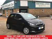 USED 2014 64 PEUGEOT 108 1.0 ACCESS 3 Door Black with Dark Grey Cloth ZERO Road Tax 68 BHP Ideal 1st car Low Insurance 68.9 MPG Zero Road Tax LED Daytime Running Lights