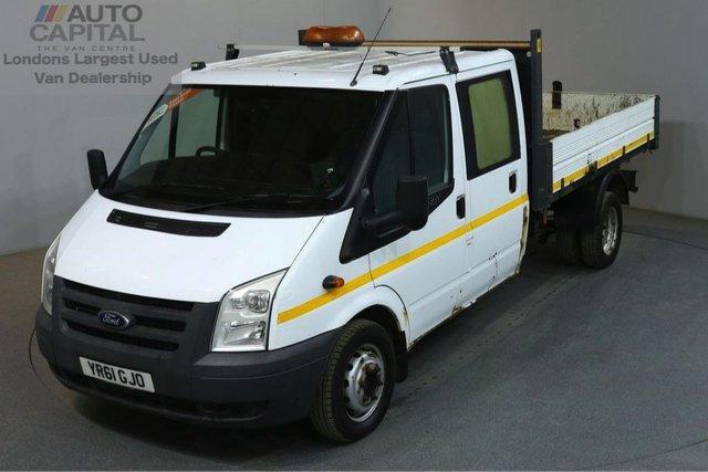 2011 61 FORD TRANSIT 2.4 350 100 BHP LWB D/CAB TWIN WHEEL 3 SEATER TIPPER