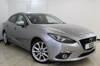 USED 2015 15 MAZDA 3 2.2 D SPORT NAV 4DR 148 BHP FULL SERVICE HISTORY + HEATED LEATHER SEATS + SAT NAVIGATION + BLUETOOTH + REVERSE CAMERA + CRUISE CONTROL + PARKING SENSOR + CLIMATE CONTROL + 18 INCH ALLOY WHEELS