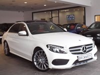 USED 2016 66 MERCEDES-BENZ C CLASS 2.1 C220 D AMG LINE PREMIUM PLUS 4d AUTO 170 BHP PAN ROOF+RED LEATHER+PLUS PK