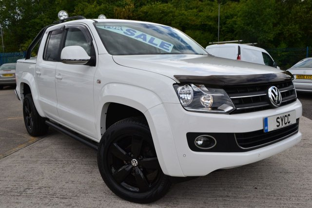 """USED 2013 13 VOLKSWAGEN AMAROK 2.0 DC TDI HIGHLINE 4MOTION NAVIGATION TECH PACK 5d AUTO 180 BHP CANDY WHITE ~ COLOUR CODED LIFT UP BACK ~ BLACK 19"""" ALLOYS ~ NAVIGATION TECH PACK"""