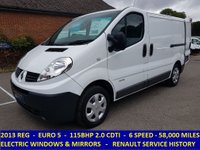 2013 RENAULT TRAFIC SL27 DCI 115 EURO 5 WITH ELECTRIC WINDOWS & MIRRORS £6995.00