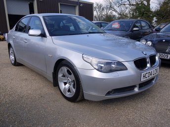 2004 BMW 5 SERIES 2.2 520i SE Saloon In Silver With Full Black Leather £3795.00