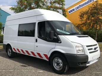 2013 FORD TRANSIT 2.2 350 LWB HIGH ROOF CREW CAB 6 SEAT WINDOW VAN RWD LOW MILEAGE FSH 124 BHP £8950.00