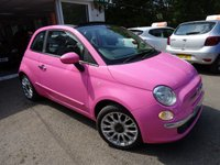 "USED 2010 60 FIAT 500 1.2 CONVERTIBLE POP 3d 69 BHP (BLUETOOTH/AIR-CON/USB/AUX/ALLOYS) Convertible finished in rare Barbie Pink with lots of optional extras such as: Bluetooth/Telephone, Air-Conditioning, 16"" Alloy Wheels, Leather Gear-Knob, USB Connection + Auxiliary Input, Steering Wheel Mounted Controls. Service History + Just Serviced by ourselves, Minimum 8 months MOT, One Previous Owner, Great on fuel economy! Only £30 Road Tax!"