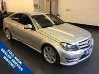USED 2013 63 MERCEDES-BENZ C CLASS 1.6 C180 BLUEEFFICIENCY AMG SPORT 2d 154 BHP , FULL MAIN DEALER SERVICE HISTORY, 1 OWNER, RAC WARRANTY, NEW 12 MONTH MOT