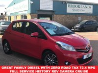 2014 TOYOTA YARIS 1.4 D-4D ICON PLUS 5 Door Chilli Red 90 BHP Zero Road Tax £6995.00
