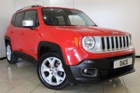 USED 2015 15 JEEP RENEGADE 1.6 M-JET LIMITED 5DR 118 BHP SAT NAV FULL JEEP SERVICE HISTORY + HEATED LEATHER SEATS + SAT NAVIGATION + BLUETOOTH + PARKING SENSOR + CRUISE CONTROL + MULTI FUNCTION WHEEL + CLIMATE CONTROL + 18 INCH ALLOY WHEELS