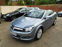 "USED 2008 58 VAUXHALL ASTRA 1.6 TWIN TOP SPORT 3d 114 BHP This petrol powered Astra Twin top is finished in Metallic silver lightening with Black cloth seats. It is fitted with power steering, air con which is cold, remote locking, electric windows and mirrors, 16"" alloys, CD Stereo and more. It has had two female owners from new and been in the last's possession since 2010. It comes 8 service stamps,  invoices and old Mot certificates. The advisory free Mot runs till November 2018. We will supply it with 12 months MOT, a service and 6 months warranty."