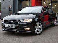 USED 2015 15 AUDI A3 SALOON 1.6 TDI SPORT 4d 110 S/S UPGRADE SAT NAV, DAB RADIO, BLUETOOTH PHONE & MUSIC STREAMING, AUDI MUSIC INTERFACE FOR IPOD / USB DEVICES (AMI), MANUAL 6 SPEED, START STOP TECHNOLOGY, FRONT FOG LIGHTS, HEADLAMP WASHERS, 17 INCH 5 SPOKE ALLOYS, GREY CLOTH INTERIOR, SPORT SEATS, LEATHER MULTI FUNCTION STEERING WHEEL, DUAL CLIMATE AIR CON, FRONT ARM REST, AUDI DRIVE SELECT, CD HIFI WITH 2x SD CARD READERS, ELECTRIC WINDOWS, ELECTRIC HEATED MIRRORS, TYRE PRESSURE MONITOR. 1 OWNER FROM NEW, FULL AUDI SERVICE HISTORY, £0 ROAD TAX