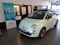 USED 2015 64 FIAT 500 1.2 C CULT 3d 69 BHP Finished in Smooth Green with full Black leather with Cream accents and headrests. Full service history, August 2019 Mot.