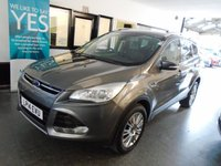 USED 2014 14 FORD KUGA 2.0 TITANIUM TDCI 2WD 5d 138 BHP Two owners, Ford service history, August 2019 advisory free Mot. Finished in Magnetic Grey with Black half leather seats.