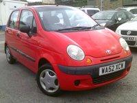 2002 DAEWOO MATIZ 0.8 SE 5d 50 BHP £1295.00