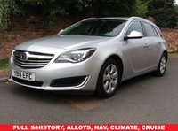 USED 2014 14 VAUXHALL INSIGNIA 2.0 TECH LINE CDTI ECOFLEX S/S 5d 138 BHP 1 COMPANY OWNER, FULL SERVICE HISTORY, MOT AUG 19, EXCELLENT CONDITION, ALLOYS, CLIMATE, CRUISE, BLUETOOTH,  FOGS, RADIO CD, E/WINDOWS, R/LOCKING, FREE WARRANTY, FINANCE AVAILABLE, HPI CLEAR, PART EXCHANGE WELCOME,