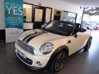 """USED 2013 13 MINI ROADSTER 1.6 COOPER 2d 120 BHP This Mini Roadster Cabriolet is finished in white with black half leather trim and full length electric folding roof, its had the one private owner. It is fitted with power steering, climatic Air conditioning, Bluetooth, cruise control, remote locking, electric windows & mirrors, 17"""" grey alloy wheels, rear park assist, DAB radio, USB/CD Stereo and more. It comes with a full service history from Mini, (4 times) and was last done by a local independent dealer in Jan 2018."""