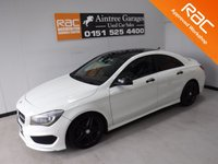 USED 2014 64 MERCEDES-BENZ CLA 2.1 CLA200 CDI AMG SPORT 4d 137 BHP A REAL EXAMPLE OF A STUNNING AND VERY WELL LOOKED AFTER PRESTIGE VEHICLE FINISHED IN GLEAMING WHITE WITH A FULL GLASS ROOF, HALF LEATHER/ANTARA TRIM FINISHED IN RED STITCHING , USB AUX CD RADIO, BLUETOOTH PHONE PREP, TYRE MONITORING SYSTEM, ELEC FOLD MIRRORS, PARKING SENSORS, DUAL CLIMATE CONTROL, LEATHER CLAD FLAT BOTTOM MULTIFUNCTION STEERING WHEEL        for more Information Please Call Now on 0151525 4400,  07967141248. Family Run Business