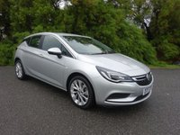 2017 VAUXHALL ASTRA 1.4 DESIGN 5 Dr 123 BHP, TURBO, SILVER, 1 OWNER £10495.00