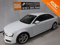 USED 2013 13 AUDI A4 2.0 TDI S LINE 4d 174 BHP AMAZING CAR IN GLEAMING WHITE WITH BLACK S LINE BADGE HALF LEATHER INTERIOR, ONE COMPANY OWNER WITH FULL AUDI SERVICE HISTORY, ELEC WINDOWS ALL ROUND,ELEC COMFORT CONTROL SEATS, DRL HEAD LAMPS, DUAL CLIMATE CONTROL,AUDI CONCERT DAB CD RADIO, WITH AUX POINT, BLUETOOTH AUDIO PHONE PREP, VOICE COMMAND, 18INCH UPGRADED ALLOYS