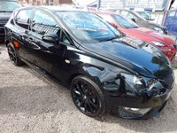 USED 2015 15 SEAT IBIZA 1.2 TSI FR BLACK 5d 104 BHP LOW INSURANCE, F.S.H, 1/2 LEATHER INTERIOR, SAT NAV,  BLUETOOTH