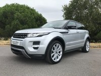 USED 2012 12 LAND ROVER RANGE ROVER EVOQUE 2.2 SD4 DYNAMIC 5d AUTO 190 BHP AUTOMATIC DYNAMIC WITH FSH IN SILVER WITH FULL BLACK LEATHER SAT NAV REVERSING CAMERA