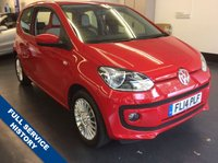 USED 2014 14 VOLKSWAGEN UP 1.0 HIGH UP 3d 74 BHP VW PLUS ONE PRIVATE OWNER, SAT NAV, HEATED SEATS