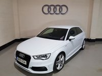 USED 2015 15 AUDI A3 2.0 TDI S LINE 3d 148 BHP 1 Owner / £20 Tax / Rear Privacy / Pearl White /Leather