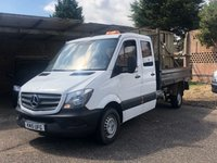 USED 2015 15 MERCEDES-BENZ SPRINTER 313 CDI LWB Tipper Crew Cab 2.1 130 BHP 2015 (15) Plate White