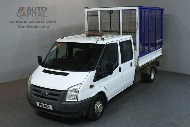 2011 11 FORD TRANSIT 2.4 350 100 BHP LWB  D/CAB TWIN WHEEL CAGE COMBI TIPPER ONE OWNER FULL S/H SPARE KEY