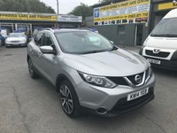 USED 2014 14 NISSAN QASHQAI 1.5 DCI TEKNA 5 DOOR 108 BHP IN SILVER NEW SHAPE WITH 84000 MILES. APPROVED CARS ARE PLEASED TO OFFER THIS  NISSAN QASHQAI 1.5 DCI TEKNA 5 DOOR 108 BHP IN SILVER NEW SHAPE WITH 84000 MILES ,2 OWNERS WITH A FULL NISSAN SERVICE HISTORY AND WE WILL SERVICE THE CAR FOR ITS NEW OWNER WITH A GREAT SPEC INCLUDING A FULL BLACK LEATHER INTERIOR,SAT NAV,REVERSE CAMERA,6 SPEED GEARBOX,HEATER SEATS,ALARM,ALLOY WHEELS,CD,CENTRAL LOCKING,FRONT AND REAR PARKING SENSORS,PANORAMIC SUN ROOF,PRIVACY GLASS,ELECTRIC SEATS AND MUCH MORE,AN IDEAL NEW SHAPE QASHQAI MAKES THIS CAR UNBE
