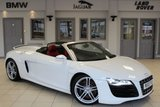 USED 2010 10 AUDI R8 5.2 SPYDER V10 QUATTRO 2d 519 BHP FULL RED LEATHER SEATS + FULL AUDI SERVICE HISTORY INCLUDING FULL SERVICE CARRIED OUT BY AUDI IN AUGUST 2018 AND NEW BRAKES FITTED ALL ROUND IN SAME MONTH + SATELLITE NAVIGATION + BLUETOOTH + BANG & OLUFSEN SOUND SYSTEM + 19 INCH ALLOYS + HEATED FRONT SEATS + PARKING SENSORS + XENON HEADLIGHTS
