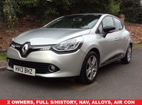 USED 2013 13 RENAULT CLIO 1.1 DYNAMIQUE MEDIANAV 5d 75 BHP 2 OWNERS, FULL SERVICE HISTORY, MOT SEPT 19, NAV, ALLOYS, AIR CON, CRUISE, FOGS, RADIO CD, E/WINDOWS, R/LOCKING, EXCELLENT CONDITION, FREE WARRANTY, FINANCE AVAILABLE, HPI CLEAR, PART EXCHANGE WELCOME,