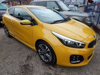 USED 2017 66 KIA CEED 1.6 PRO CEED CRDI GT-LINE ISG 3d AUTO 134 BHP 1/2 LEATHER INTERIOR,COLOUR SCREEN SAT NAV, BLUETOOTH, ALLOY WHEELS, 1 OWNER