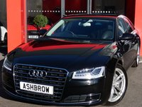 USED 2016 65 AUDI A8 3.0 TDI QUATTRO SPORT EXECUTIVE 4d AUTO 255 S/S LOW MILEAGE, 1 OWNER FROM NEW, FULL AUDI SERVICE HISTORY, BALANCE OF MANUFACTURERS WARRANTY,  LED MATRIX LIGHTS, FRONT & REAR CAMERAS, FRONT & REAR PARKING SENSORS,  20 INCH TWIN 5 SPOKE ALLOYS, PRIVACY GLASS, FULL BLACK LEATHER INTERIOR, COMFORT SPORT SEATS, POWER FOLDING MIRRORS, BOSE SURROUND SOUND,  HDD SAT NAV WITH JUKEBOX & DVD PLAYBACK, DAB RADIO, AUDI MUSIC INTERFACE (AMI), BLUETOOTH PHONE & MUSIC STREAMING, ELECTRIC BOOT LID