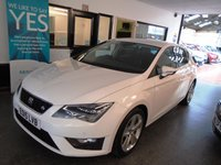 USED 2015 15 SEAT LEON 2.0 TDI FR TECHNOLOGY 5d 150 BHP One lady owner from new, full Seat service history, April 2019 Mot. Finished in Candy White and fitted with Technology Pack