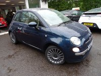 USED 2014 64 FIAT 500 1.2 LOUNGE 3d 69 BHP Finished in rare and very sought-after Epic Blue! Fiat Service History + Serviced by ourselves, One Previous Owner, Minimum 8 months MOT, Great on fuel economy! Only £30 Road Tax!