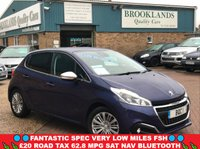 USED 2015 65 PEUGEOT 208 1.2 ALLURE Virtual Blue Metallic 5 Door 82 BHP Only 12783 Miles FSH Fantastic Spec Very Low Miles FSH £20 Road Tax 62.8 MPG SAT NAV Bluetooth