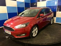 "USED 2015 15 FORD FOCUS 1.5 ZETEC TDCI 5d 118 BHP A very good example of this sought after family diesel estate finished a luxurious metalic red  contrasted with silver 17"" alloys ,this car comes with full service history majority at main agent.This car drives superbly and defies its milage ,coming equipped with touch screen satelite navigation,reversing camera ,ford sync system,tpms,dab radio with usb and aux imputs, rapid clear screen plus all the usual refinements,road fund is zero and combined ecconomy of 74.3 mpg defiitely one to concider."