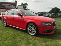 2008 AUDI A4 2.0 AVANT TDI S LINE SP-EDT MISANNO RED PEARL BLACK LEATHER FSH  £6495.00